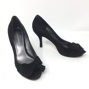 Via Spiga Genuine Suede Peep-Toe Pump Heels 6.5